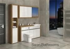 OAK / WHITE GLOSS BATHROOM FITTED FURNITURE WITH WALL UNITS 2000MM