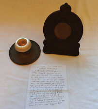 Military WWI  Trench Art Royal Engineers Photo Frame And Desk Inkwell (3272)