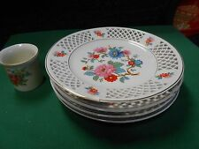 Beautiful Set of 4 Collector Plates with Free Candle Cup