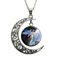 "ELEGANT NEW MOON SPIRITUAL ANGEL NECKLACE 22.5"" LENGTH   T2:10"