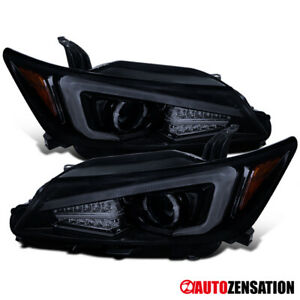 For 2011-2013 Scion tC LED DRL Bar Glossy Black Smoke Projector Headlights