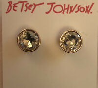 Betsey Johnson Princess Faceted Round Gold Tone Crystal Stud Earrings NWT
