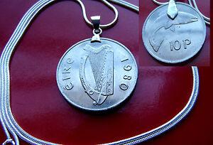"LOVELY 1980 Lucky IRELAND HARP COIN Pendant  24"" 925 Sterling Silver Snake Chain"
