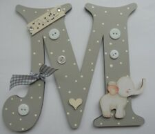 Cute Elephant Personalised *ANY LETTER & NAME* kids Room Door Sign Plaque GREY