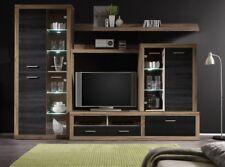 Wohnwand Anbauwand Wohnzimmerset Can Can Nussbaum inkl Beleuchtung