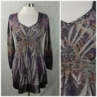One World Size Small Shirt Tunic Top pullover Boho Peasant Bling gem Romantic