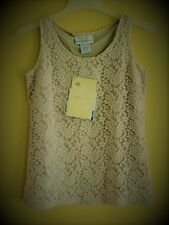 NWT Women's Sz S SUSAN GRAVER Style QVC Lace Overlay Tank TOP Beige NEW in U.S.A