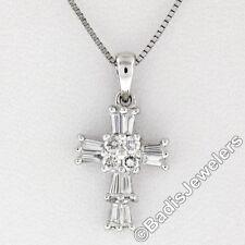 Petite 18K White Gold .37ctw Round & Baguette Cut Diamond Cross Pendant w/ Chain