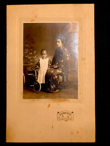 c 1900 Antique Photo JAPAN Tricycle TOY JAPANESE Yamagata SHAVED HEAD Child