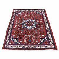"""3'4""""x4'10"""" Red New Farsian Amadan Pure Wool Hand-Knotted Oriental Rug R46002"""