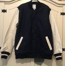 """Adidas David Beckham J Bond Varsity Jacket Coat Navy White Leather Size L 46"""" C"""