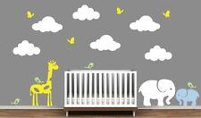ANIMAUX Autocollants muraux bébé éléphant girafe oiseaux papillons nuages Big decals