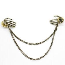 Antique Bronze Skeleton Hands Cardigan Clip ~ Vintage Steampunk Brooch Lapel Pin