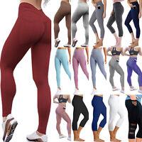 Damen Leggings Leggins Stretch Sport Hose Fitness Yoga Jogging Tasche Laufhosen