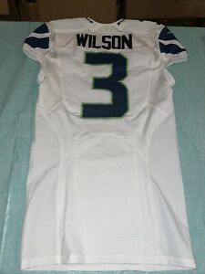 Adult 42 2014 Game Team Issue Seattle seahawks jersey Russell wilson nike White