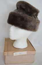Vintage Womens Fur Bucket Hat Brown Cohen Brothers Small-Medium