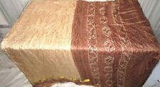 Cream Brown Pure Silk 4 yd Vintage Antique Sari Saree daily deals Shary #6HMH7