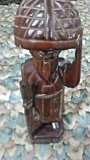 """Asia carved wood Sculpture Statue Mahogany 12"""" Tall"""