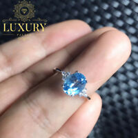 Natural Sky Blue Topaz 1.5ct Gemstone Solid 925 Sterling Silver Rings for Women