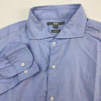 UNIQLO Button Up Shirt Mens Large Slim Fit Blue Long Sleeve Casual