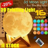 Rechargeable Moon Lamp Night Light Kids Dimmable LED Color Change 3D Dimmable TA