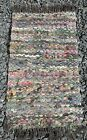 """Vintage Rag Fabric Fringe Woven Rug Gorgeous Colors Nice Condition 34"""" x 20"""""""