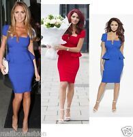 Ladies Amy Childs Style Peplum Dress Bodycon Blue Red Party TOWIE Size 8 - 14