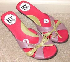 EUC Women 38 US Size 7.5 8 FLY LONDON Green Pink Red Leather Kitten Heel Sandals