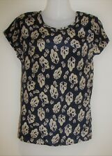 VIKTORIA + WOODS Pure Silk Patterned Tee T-Shirt Top Size 1 Small S RRP:$260