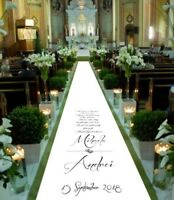 Personalised WEDDING AISLE RUNNER. Church Wedding Carpet Decoration. 15ft - 30ft