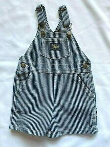 Vintage OshKosh B'gosh Vestbak Overall Shorts 2T Toddler Blue Hickory Stripe USA