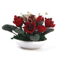 1/12 Miniature dollhouse clay plants Pink gypsophila flower ceramic pot E3L7