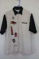 BOWLING STYLE SHIRT ROCKABILLY ROUTE 66 PATCHES VINTAGE CARS RETRO JAMES DEAN 50