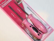 Ladies Pink Set of 2 x Screwdrivers 6mm Flat + #2 Phillips Head Home Tool NEW