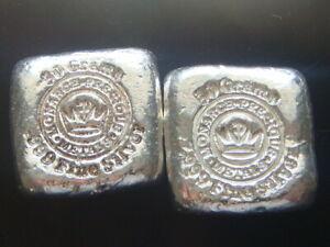 TWO 50 GRAM MONARCH PRECIOUS METALS HAND POURED .999 SILVER BARS