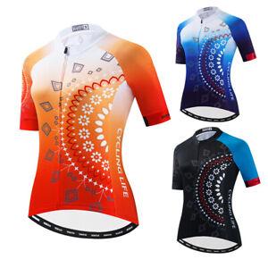 Orange Women Cycling Jersey Bike Short Sleeve Tops Reflective 3-Pockets Jackets