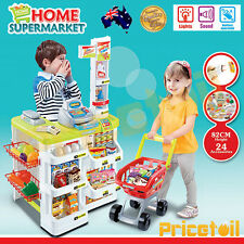 OZ Kids Supermarket Pretend Play Set Cash Register Shopping Trolley Scanner Toy