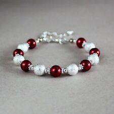 Silver stardust dark wine red pearls wedding bridal bridesmaid beaded bracelet