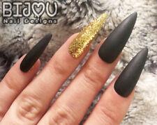Black Gold Gold Glitter Press On Nails Set Of 20 Autumn Fall Christmas Halloween