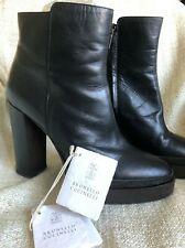 Brunello Cucinelli Monili Trimmed Leather Ankle Boots