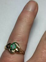 Estate 14k Yellow Gold Egyptian Emerald Ring