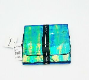 Kendall + Kylie Case Makeup Bag Blue Iridescent Hanging Beauty Travel Cosmetic