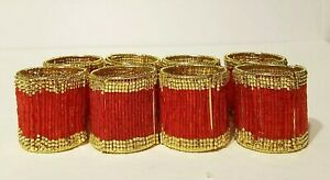 Set of 8 Beaded Bright Red with Gold Trim Napkin Rings MINT EUC!