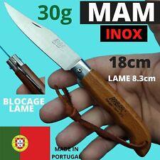 COUTEAU 18CM MAM PORTUGAL SPORT BLOCAGE LAME INOX LANIERE PECHE BOIS NATURE
