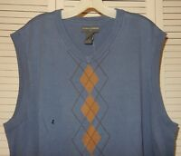 NWT Mens XL Saddlebred V Neck Argyle Sweater Vest Cotton Stormy Blue Brown Tan