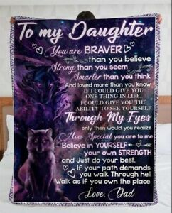 Wolf To My Daughter From Dad Gift Fleece Blanket