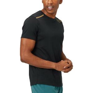 2XU Mens GHST T Shirt Tee Top Black Gold Sports Running Gym Breathable