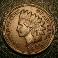 OLD US COINS 1906 INDIAN HEAD CENT PENNY FULL LIBERTY BEAUTY