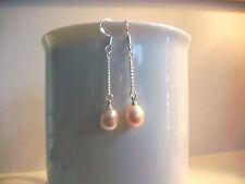 "Lavender Cultured Freshwater Pearl Dangle Earrings .925 S.Silver 1.75"" Drop NEW"