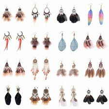 1 Pair Vintage Bohemian Boho Style Antique Long Tassel Feather Women Earrings